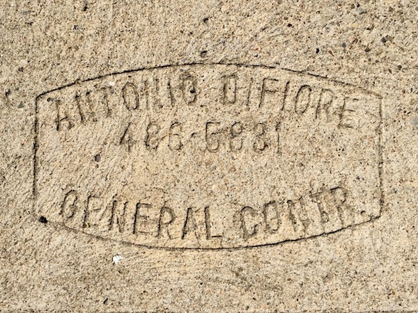 sidewalk stamp for Antonio DiFiore, Pittsburgh, PA