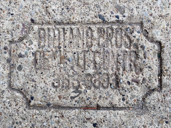 sidewalk stamp for Didiano Bros. Cement Contr., Pittsburgh, PA