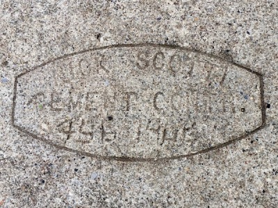 sidewalk stamp for Nick Scotti, Cement Contr., Pittsburgh, PA