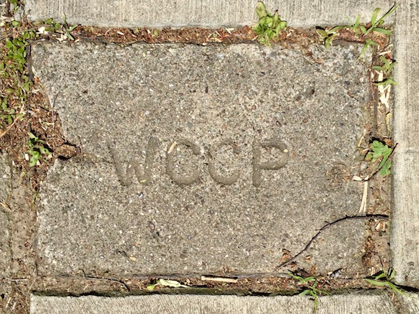 "sidewalk stamp reading ""WCCP"", Pittsburgh, PA"