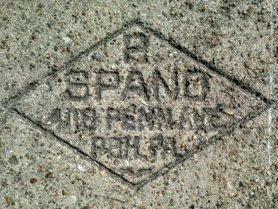 Spano sidewalk concrete mason stamp, Pittsburgh, PA