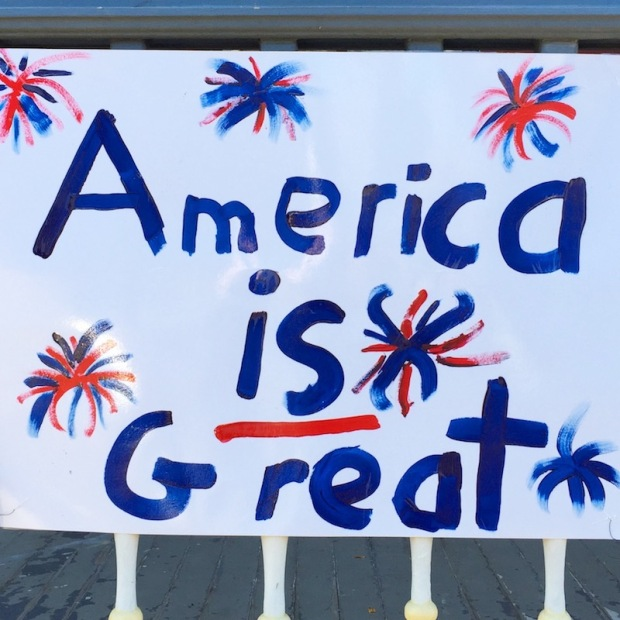 """homemade poster reading """"America is Great"""", Pittsburgh, PA"""