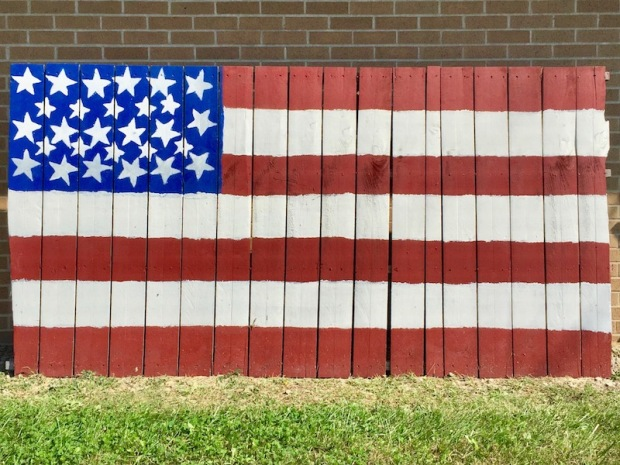 homemade American flag made from fence wood, Apollo, PA