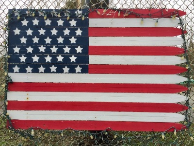 homemade American flag made from fence material, Carroll Township, PA