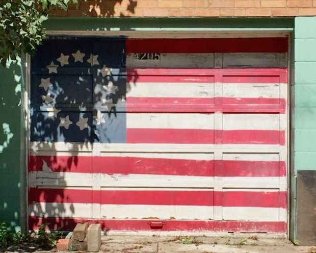 garage door painted like the 13-star colonial American flag, Pittsburgh, PA