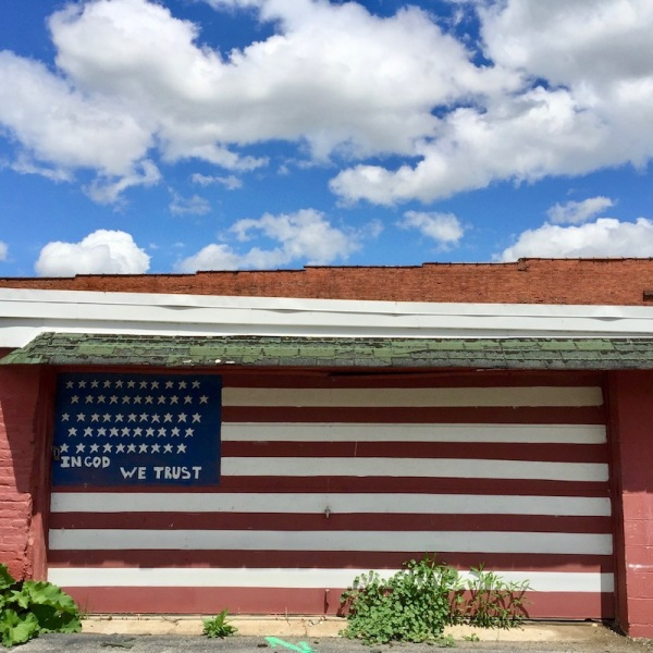 garage door painted like American flag, Millvale, PA