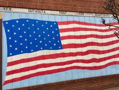 American flag mural on V.F.W., Sharpsburg, PA