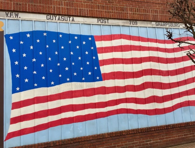 American flag mural on V.F.W., Sharpsburg, PA