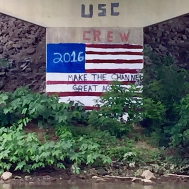 """concrete bridge support painted like American flag with slogan """"Make the Channel Great Again"""", Pittsburgh, PA"""