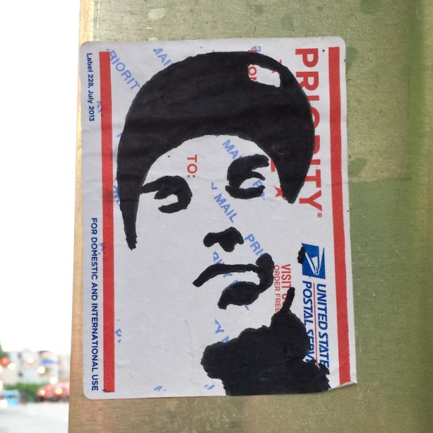 mail label portrait of man with baseball cap, Pittsburgh, PA