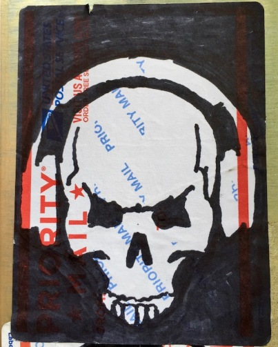 postal label with ink artwork of skull wearing headphones, Pittsburgh, PA