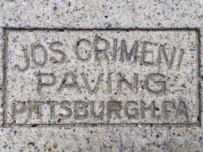 sidewalk stamp for Jos. Crimeni Paving, Pittsburgh, PA