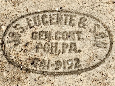 sidewalk stamp for Jos. Lucente & Son, Pittsburgh, PA