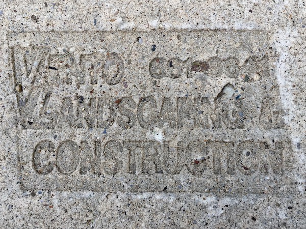 sidewalk stamp for Vento Landscaping & Construction, Pittsburgh, PA