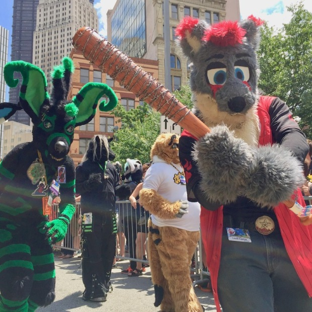 fursuit costume of bear with baseball bat covered in barbed-wire Anthrocon 2017 Fursuit Parade, Pittsburgh, PA