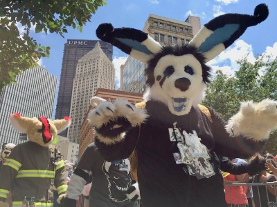 fursuit costume of bear with long rabbit ears, Anthrocon 2017 Fursuit Parade, Pittsburgh, PA