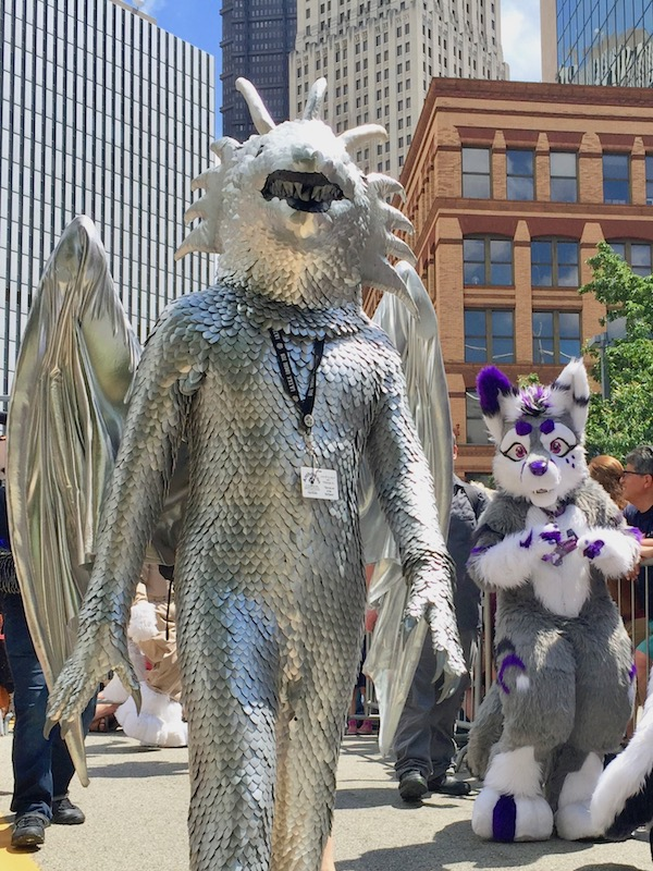 costume with silver metal scales and wings, Anthrocon 2017 Fursuit Parade, Pittsburgh, PA