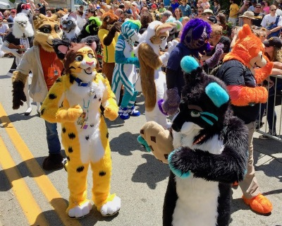 group of fursuit-wearing parade marchers, Anthrocon 2017 Fursuit Parade, Pittsburgh, PA
