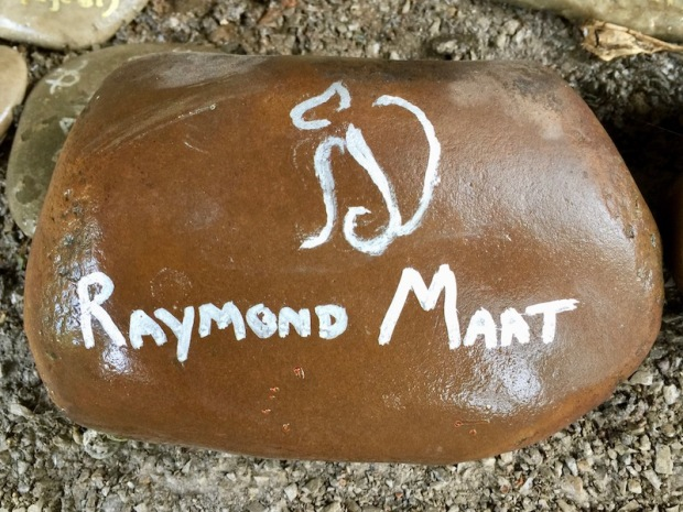 """river stone painted with white text reading """"Raymond Maat"""", Pittsburgh, PA"""
