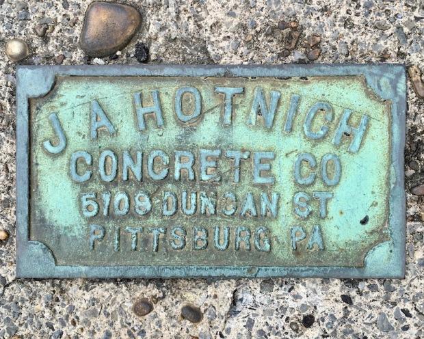 brass sidewalk plaque for J.A. Hotnich, Millvale, PA