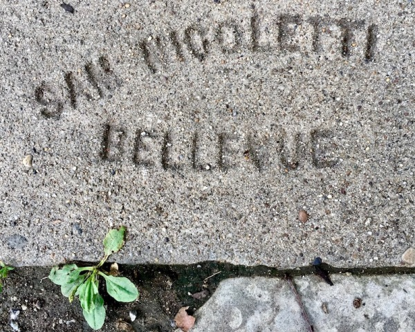 sidewalk stamp for Sam Nicoletti, Pittsburgh, PA
