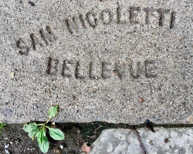 sidewalk stamp for Sam Nicoletti, Pittsburgh, PA