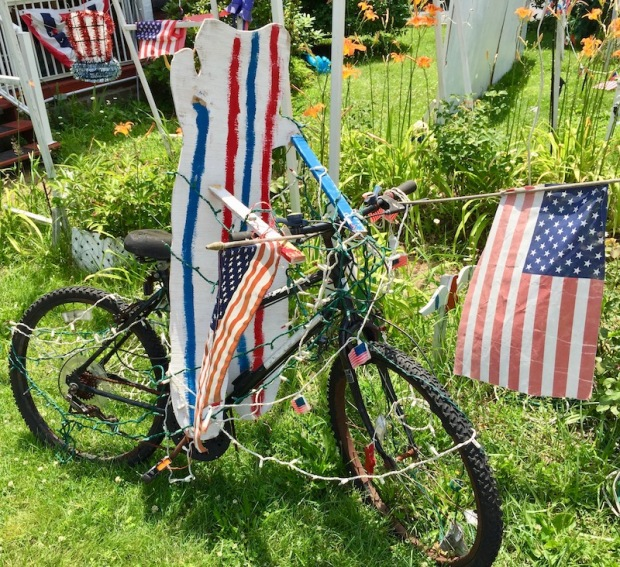 handmade wood cut teddy bear lawn decoration on bicycle, Beaver, PA