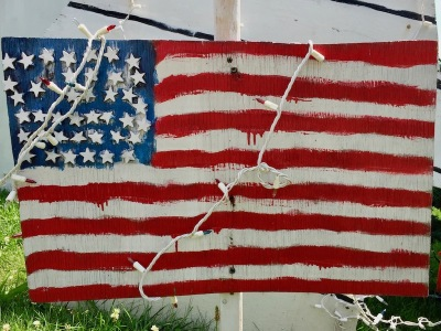 handmade wood cut American flag lawn decorations, Beaver, PA