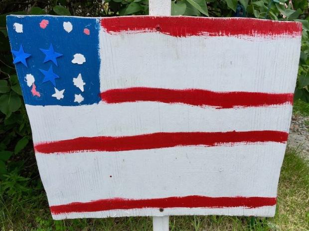handmade wood cut American flag lawn decorations, Beaver, PA