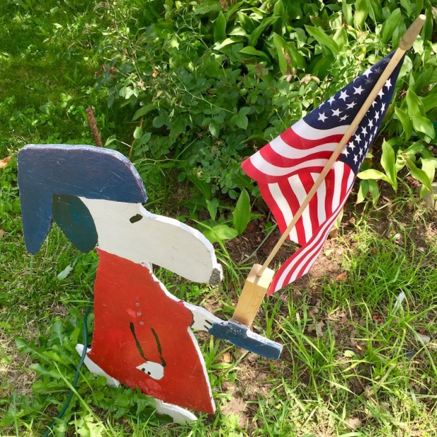 handmade wood cut Independence Day lawn decoration of red, white, and blue Snoopy, Beaver, PA