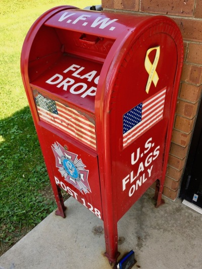 red metal flag drop box at Rochester, PA, Veterans of Foreign Wars