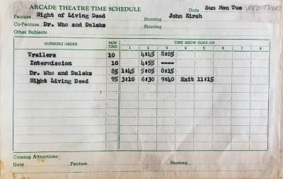 "typed time schedule for former Arcade Theatre in Pittsburgh with first run of ""Night of the Living Dead"""