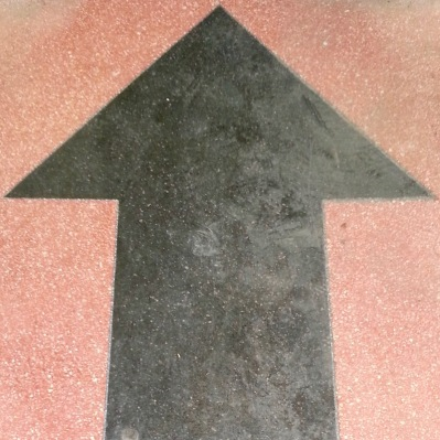 detail of store entrance with arrow shape, Etna, PA