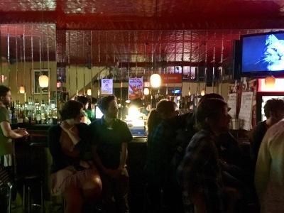 mirrored wall behind the bar and patrons at Bloomfield Bridge Tavern, Pittsburgh, PA