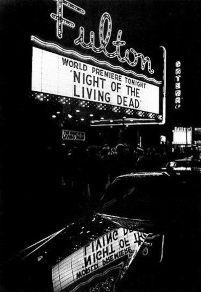 "Fulton Theater marquee lit up for world premier of ""Night of the Living Dead"", Oct. 1, 1968"