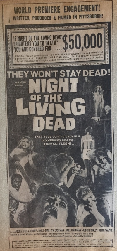 "newspaper ad for ""Night of the Living Dead"" mentioning a life insurance policy for $50,000"