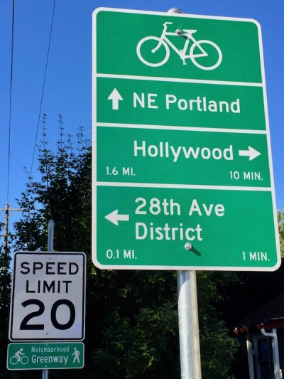 street signage specifically for bicycle riders including directions, time, and distance to various locations, Portland, OR
