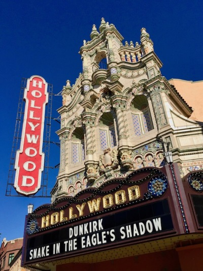 exterior of ornate Hollywood movie theater, Portland, OR