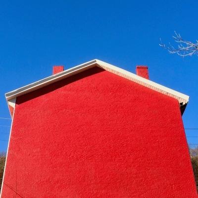 red brick house shaped like an arrow, Pittsburgh, PA