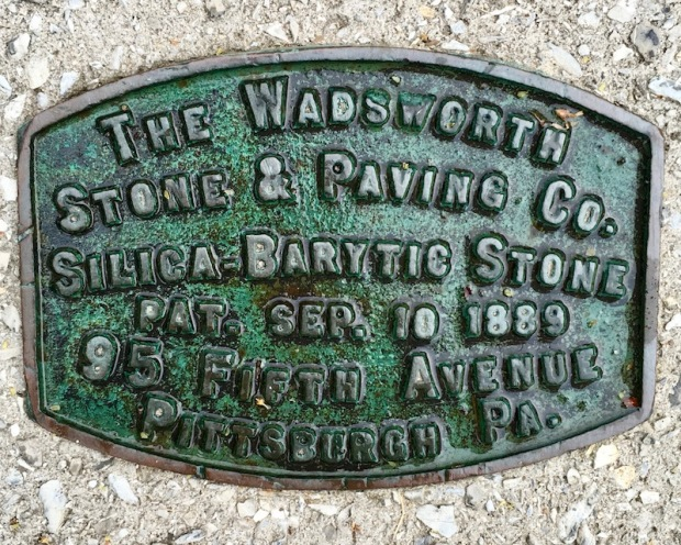 brass plaque for the Wadsworth Stone & Paving Company, Pittsburgh, PA