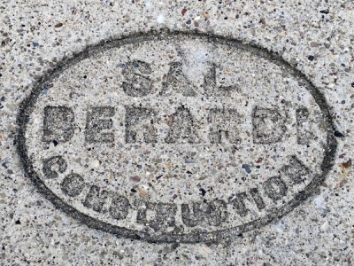 sidewalk stamp for Sal Berardi Construction, Pittsburgh, PA