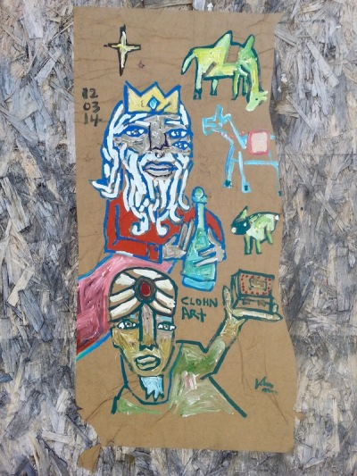 street art painting of wise men with Christmas gifts, Pittsburgh, PA