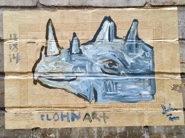 street art painting of rhinoceros, Pittsburgh, PA