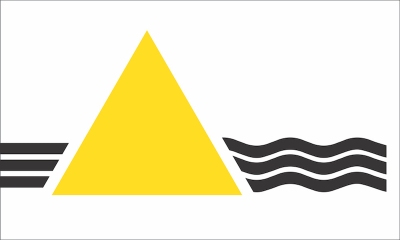"proposed Pittsburgh city flag by Ian Finch with gold triangle and black river waves imitating the Pink Floyd ""Dark Side of the Moon"" album cover"