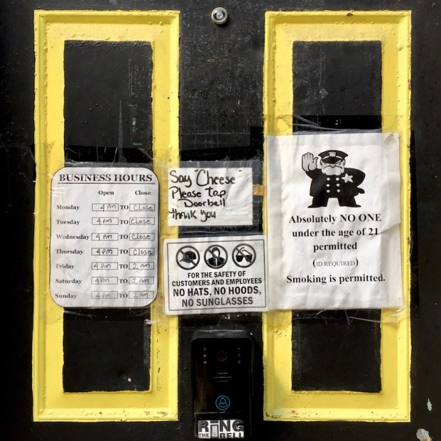 black tavern door with gold trim, Pittsburgh, PA