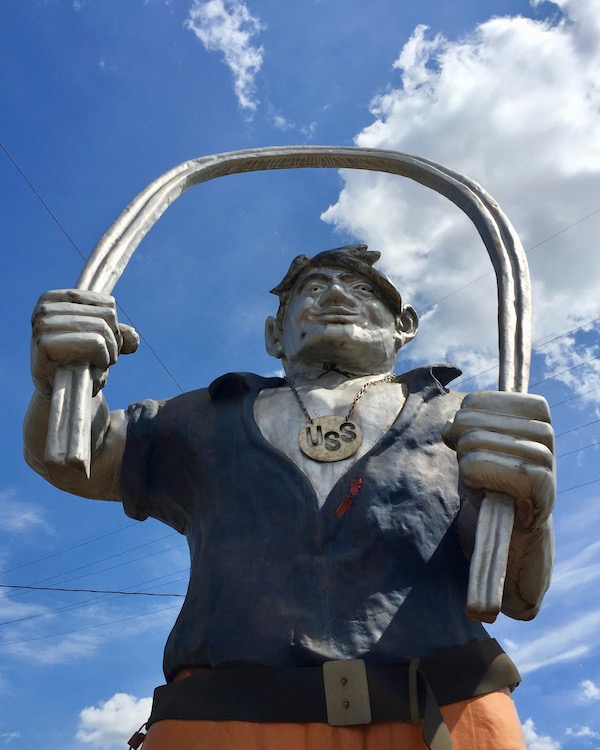 statue of mythical man of steel Joe Magarac in front of US Steel Edgar Thompson Works, Braddock, PA