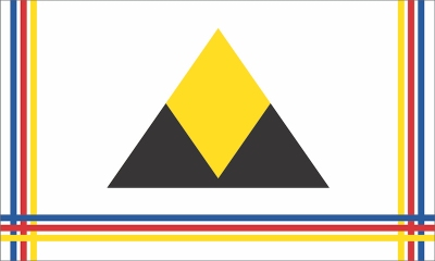 proposed Pittsburgh city flag by Ian Finch with black and gold triangle mountain and cloth-woven border in blue, red, and gold