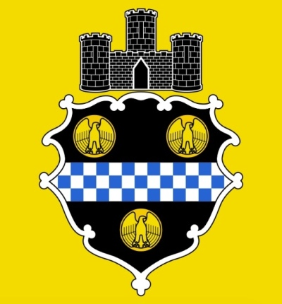 detail of the center design in Pittsburgh's city flag including three-tower castle and crest with eagles and blue-and-white checkerboard
