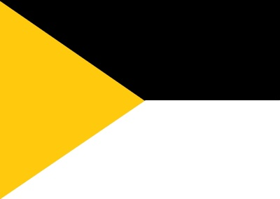 proposed Pittsburgh city flag by River Dolfi featuring gold triangle with black and white other sections