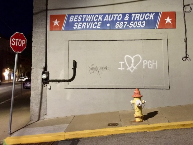 "exterior of Bestwick Auto & Truck Service company with graffiti ""I [heart] Pittsburgh"""